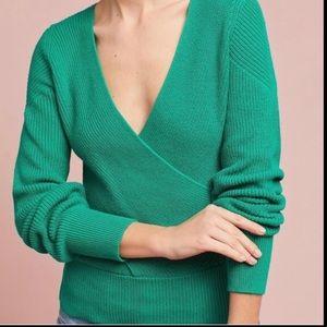 Moth | Green Faux Wrap v-neck Sweater | Medium